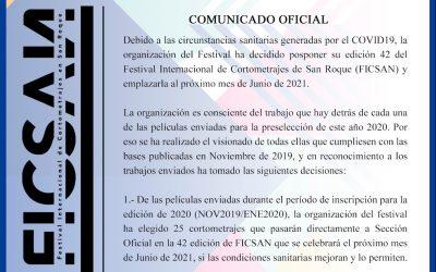 Cultura pospone a junio de 2021 la realización de la 42 edición de FICSAN