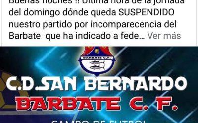 Suspendido el partido del domingo del San Bernardo porque no acudirá el Barbate