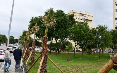 Visita a los trabajos de mejora de zonas verdes en Miraflores, que comenzaron hace unos meses