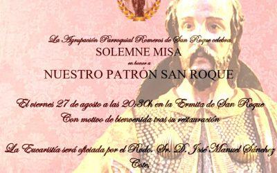 Este viernes, Misa de bienvenida al Patrón San Roque tras su restauración