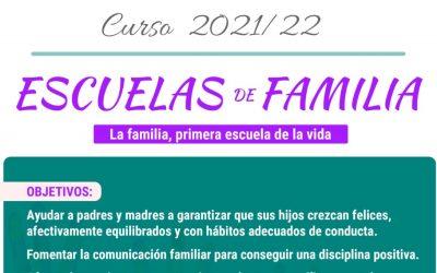 Abierto el plazo para inscribirse en las Escuelas de Familia para el curso 2021/22