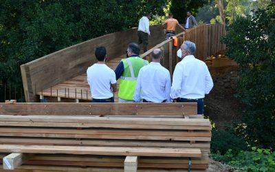 Visita a la obra del puente de madera sobre el arroyo de la Alhaja, al final de la senda al Pinar del Rey